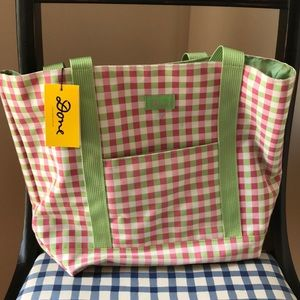 Handbags - Pink and green checked bag
